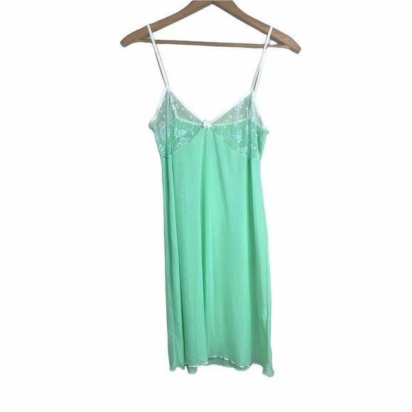 Y2K Sheer Slip Dress Pastel Green L Babydoll